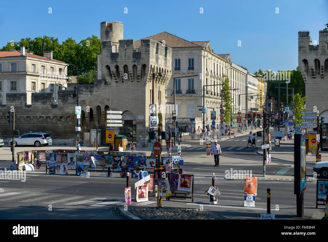 France, Vaucluse, Avignon, Republic Gate, Avignon Festival, fly posting on the street furniture on a boulevard - Stock Image