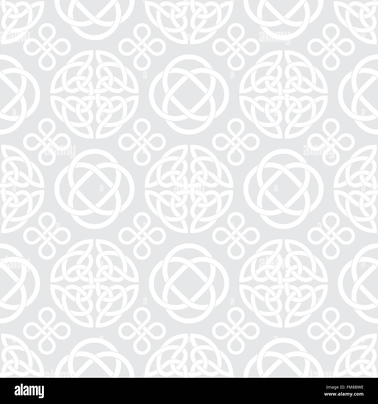 Seamless Pattern With Celtic Knot Symbols White On Light Grey Stock