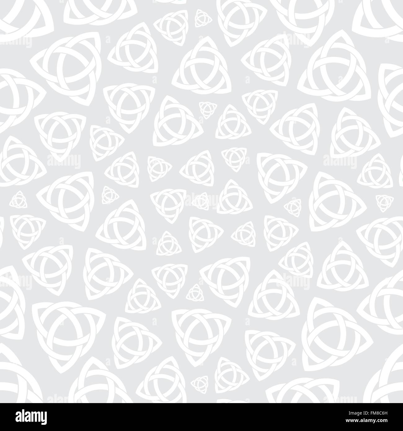 Seamless background pattern with celtic trinity knot symbol - Stock Vector
