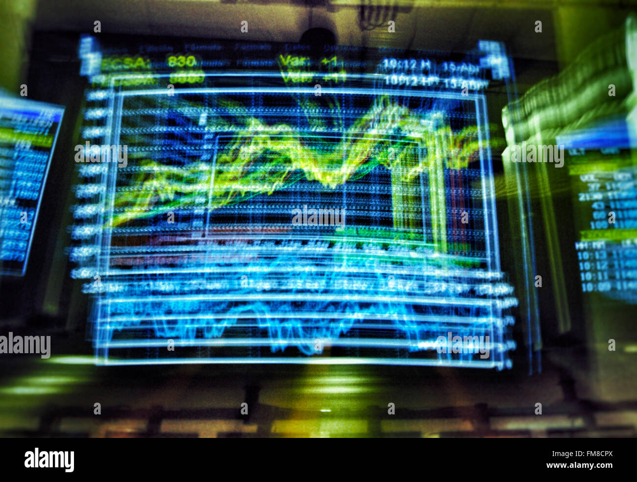 Screen showing charts at Stock exchange market - Stock Image