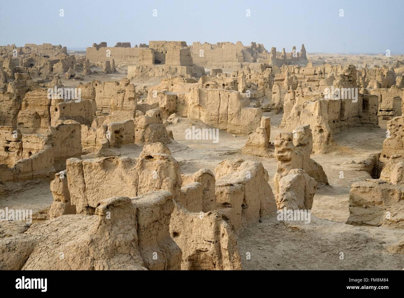 China, Xinjiang Uyghur Autonomous Region, Turpan (Turfan, Tulufan), Jiaohe Ruins, listed as World Heritage by UNESCO - Stock Image