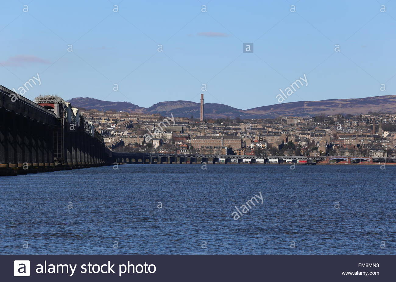 Tay Rail Bridge and Cox's Stack chimney Dundee Scotland  March 2016 - Stock Image