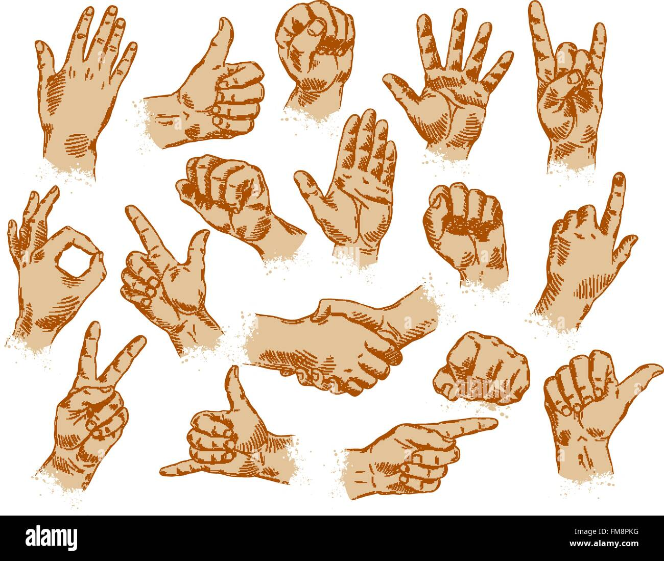 hand gestures set of vector symbols and icons stock vector art