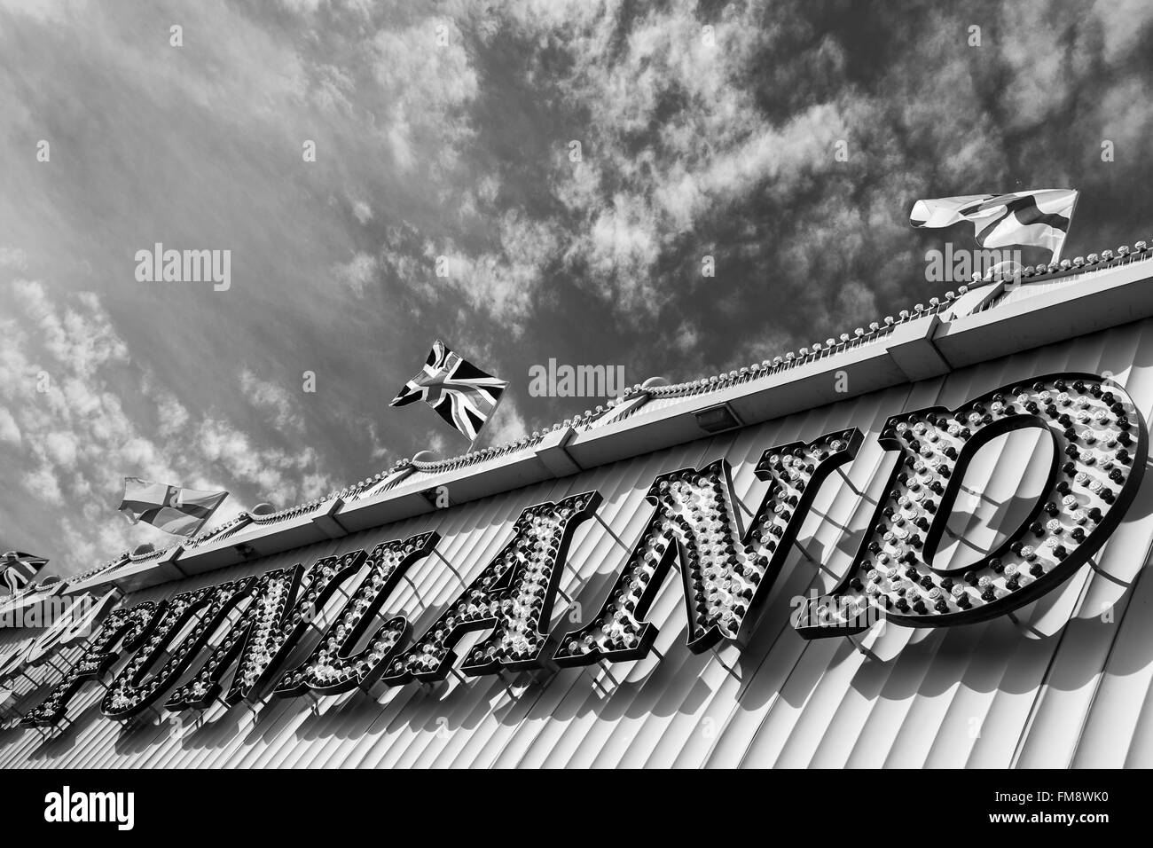 Exterior of an amusement arcade captured on the Southport promenade in the spring. - Stock Image