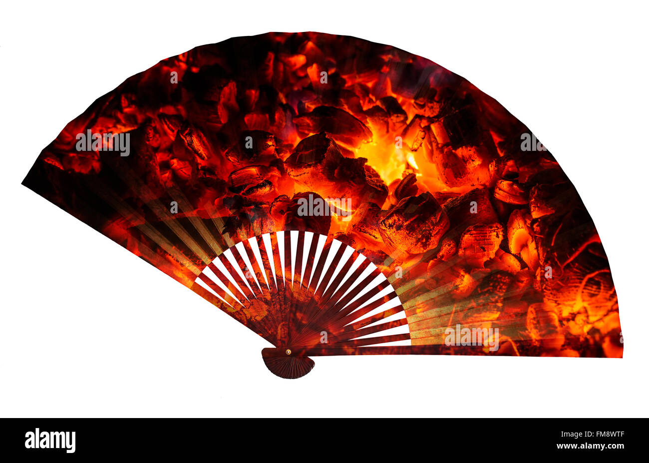 Asian fan isolated, double exposure with hot coal. - Stock Image