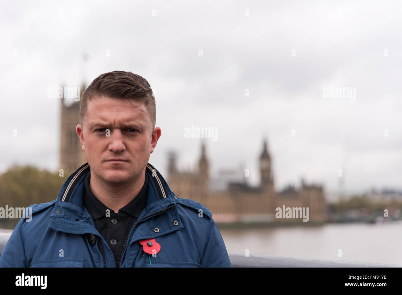 Tommy Robinson former EDL leader, political activist, author and Rebel Media contributor - Stock Image