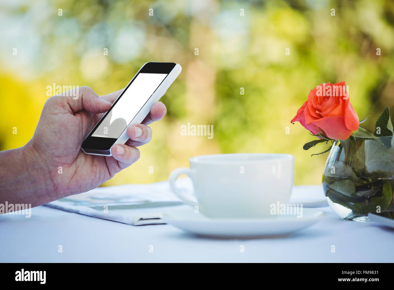 Close up of masculine hands using smartphone - Stock Image