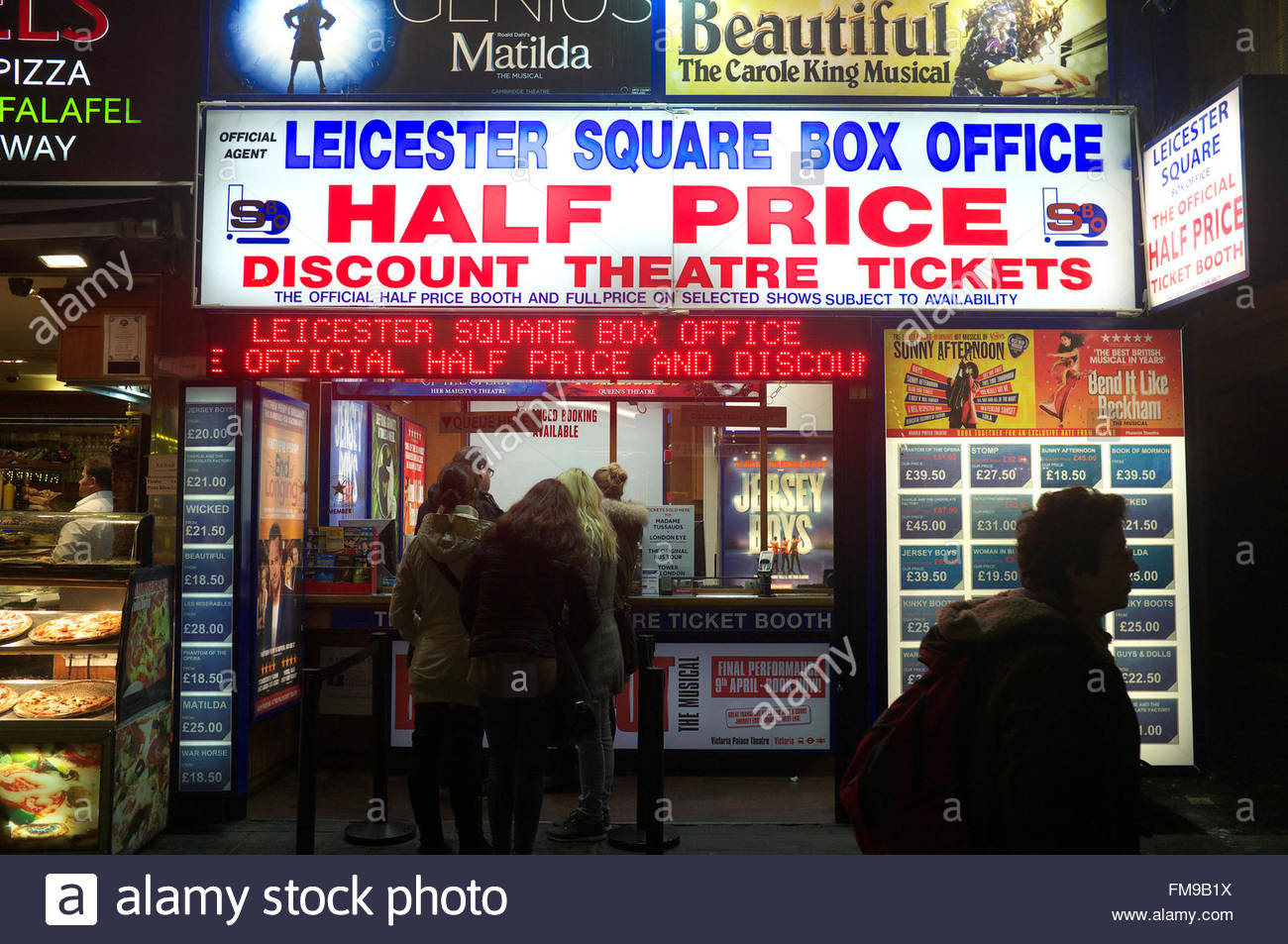 A Leicester Square box office theatre ticket outlet, in central London, UK. - Stock Image