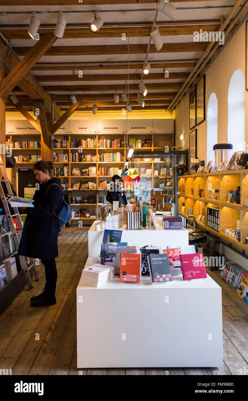 Denmark, Zealand, Copenhagen, Danish Design, interior of Danish Architecture Centre Bookstore - Stock Image