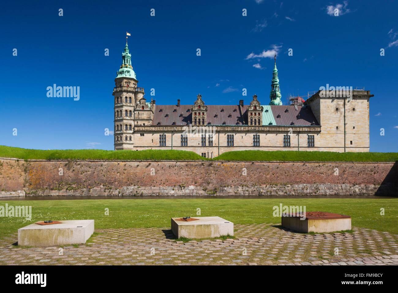 Denmark, Zealand, Helsingor, Kronborg Castle, also known as Elsinore Castle, from Shakespeare's Hamlet - Stock Image