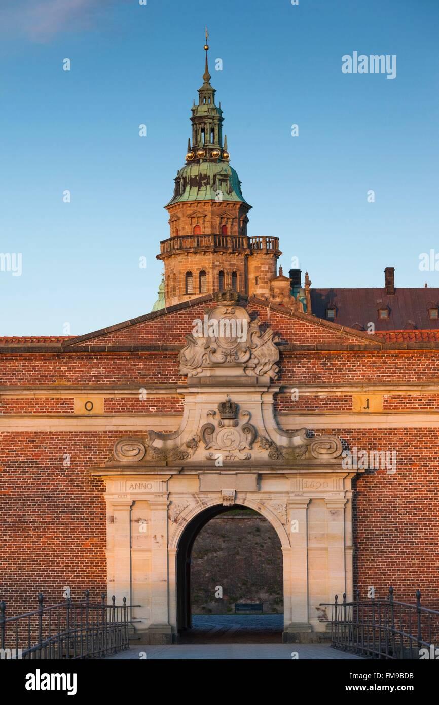 Denmark, Zealand, Helsingor, Kronborg Castle, also known as Elsinore Castle from Shakespeare's Hamlet, entrance - Stock Image