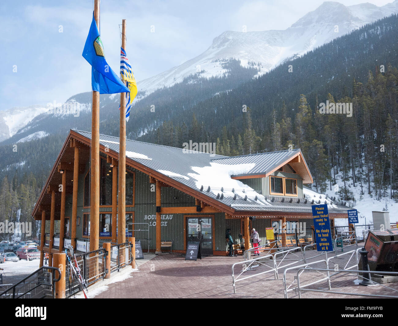 Skiers and the car parking area at the Sunshine Village ski resort Banff Canada - Stock Image