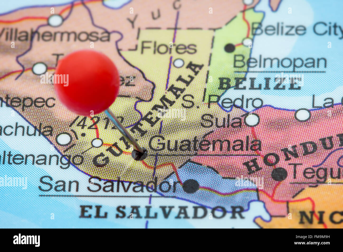 Map of guatemala stock photos map of guatemala stock images alamy close up of a red pushpin in a map of guatemala city gumiabroncs