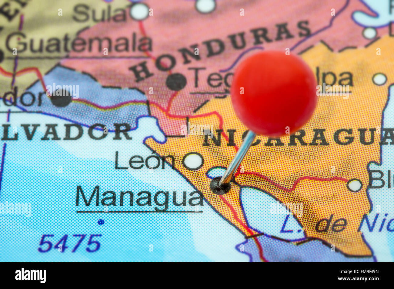 Close-up of a red pushpin in a map of Managua, Nicaragua Stock Photo ...