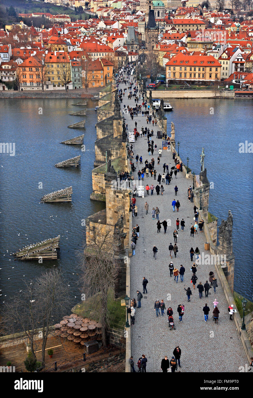 Charles' Bridge, Vltava river,  and Mala Strana. View from one of the Towers of the bridge (on the side of the - Stock Image