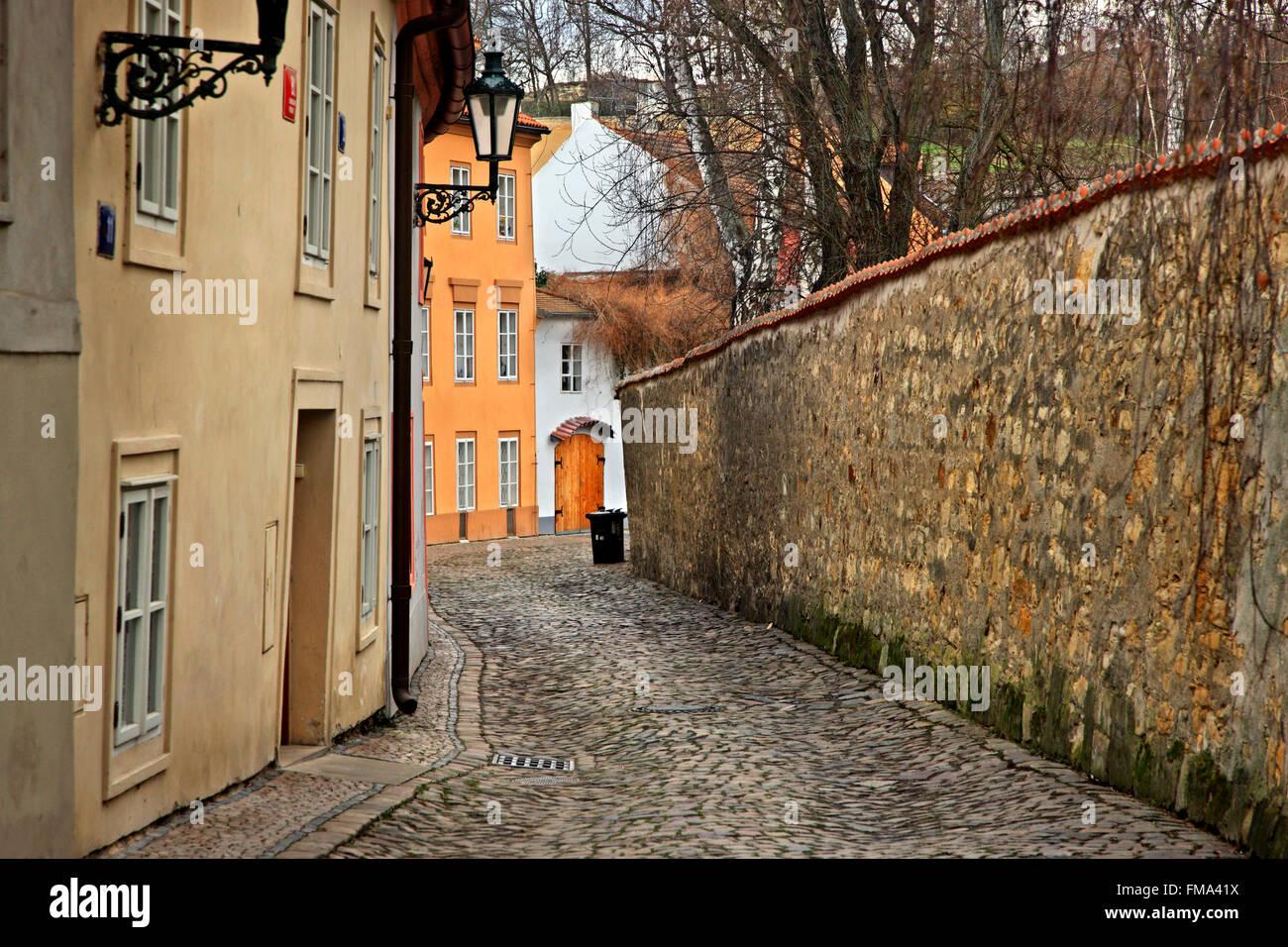 Walking in picturesque Novy Svet neighborhood, in Hradcany (Castle's neighborhood), Prague, Czech Republic Stock Photo