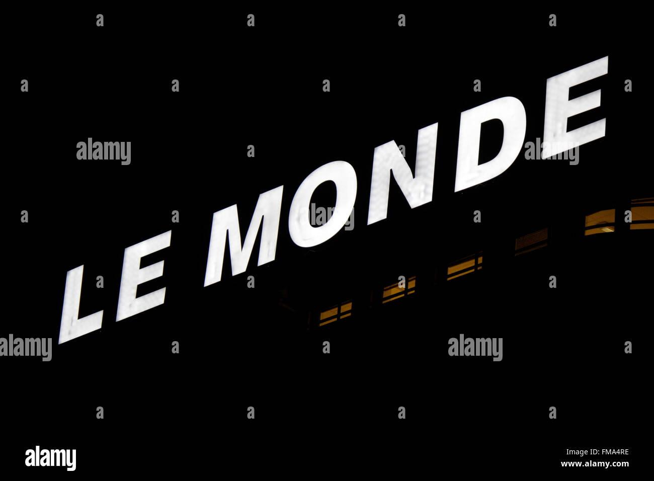 Markenname: 'Le Monde', Dezember 2013, Berlin. - Stock Image