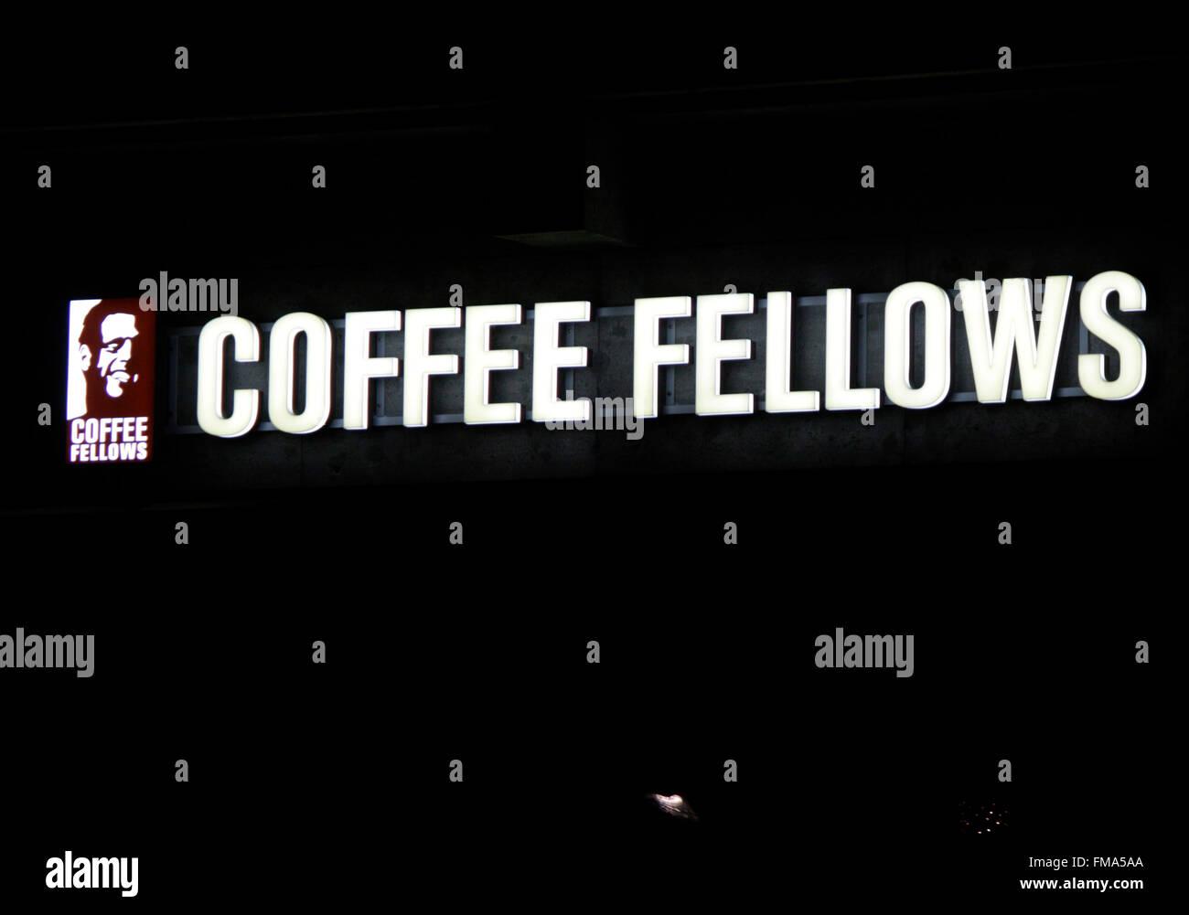 Markenname: 'Coffee Fellows', Dezember 2013, Berlin. - Stock Image
