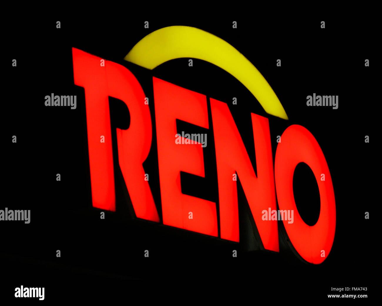 Markenname: 'Reno', Dezember 2013, Berlin. - Stock Image