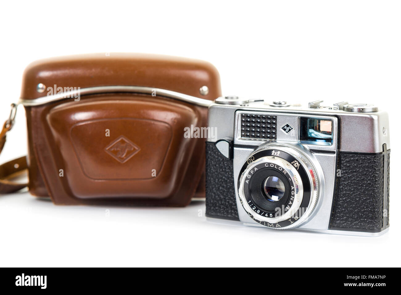 Agfa Optima vintage analogue 35mm film camera from the early 1960s isolated on white background  Model Release: - Stock Image