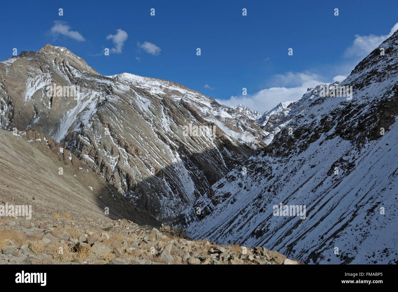 Barren snow covered mountain slopes in the trans Himalayan cold desert of Ladak during winters - Stock Image
