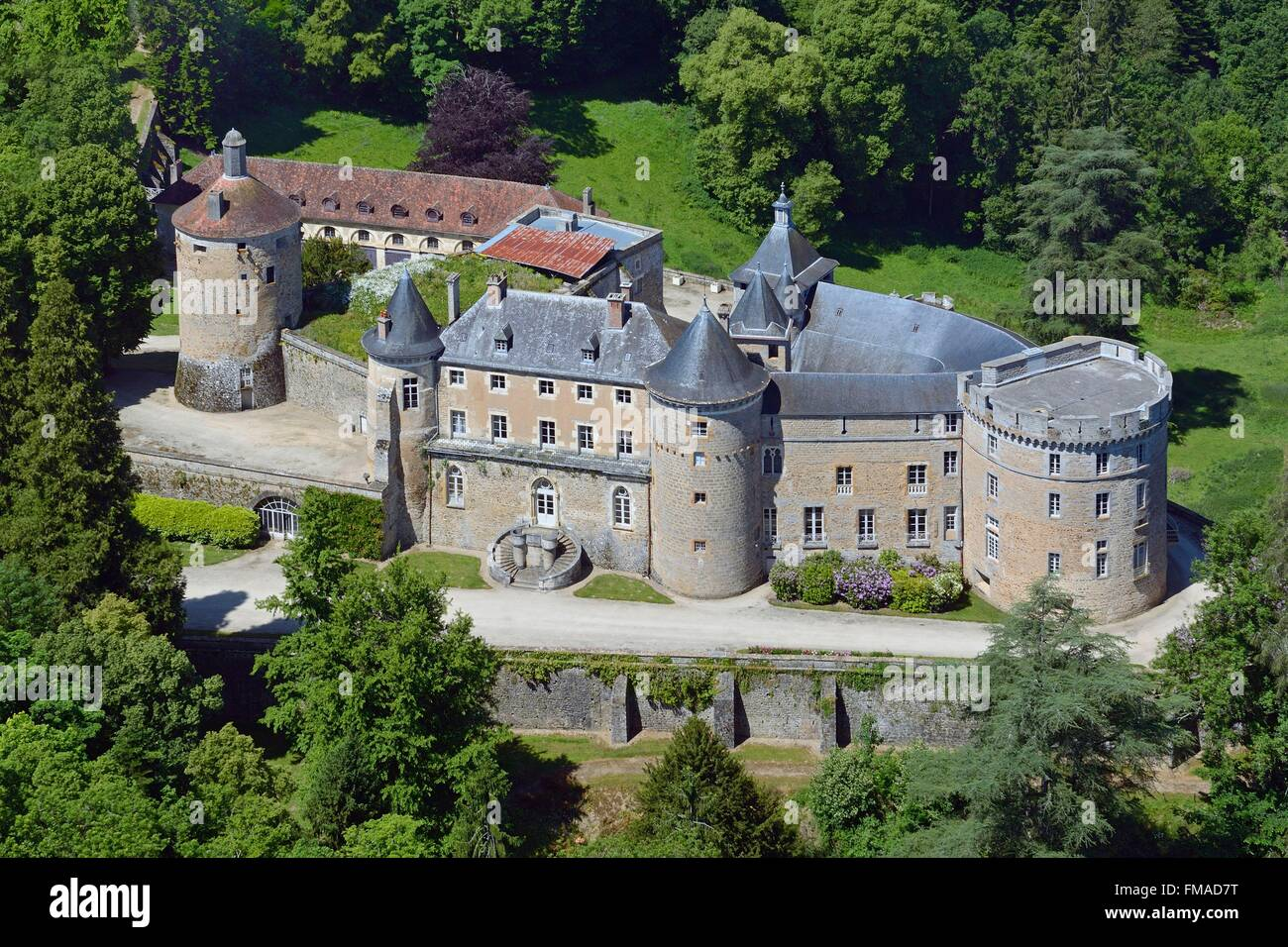 France, Yonne, Chastellux sur Cure, the castle (aerial view) - Stock Image