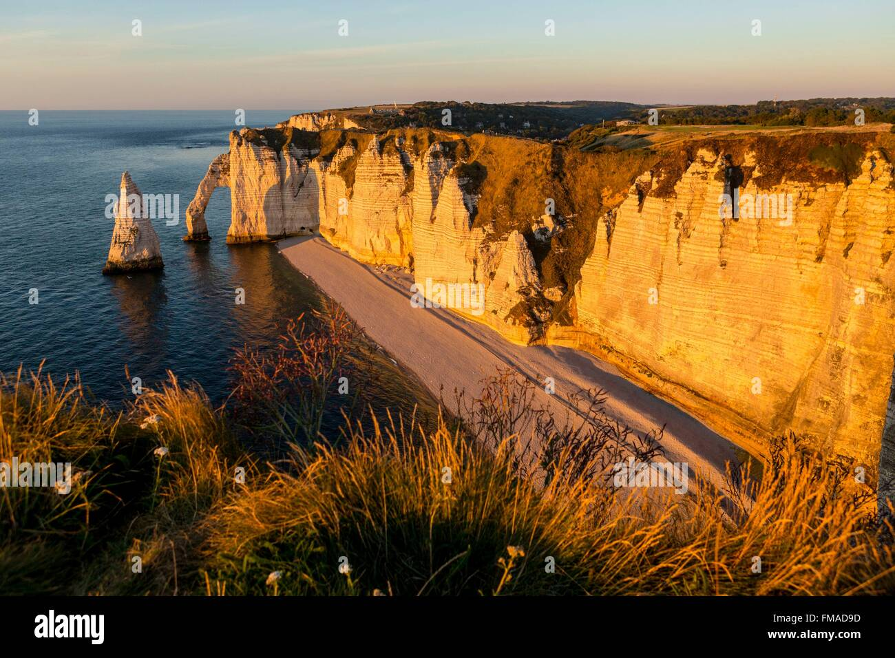 France, Seine Maritime, Caux, Alabaster Coast, Etretat, the Aval cliff, the Arch and the Aiguille (Needle) d'Aval - Stock Image