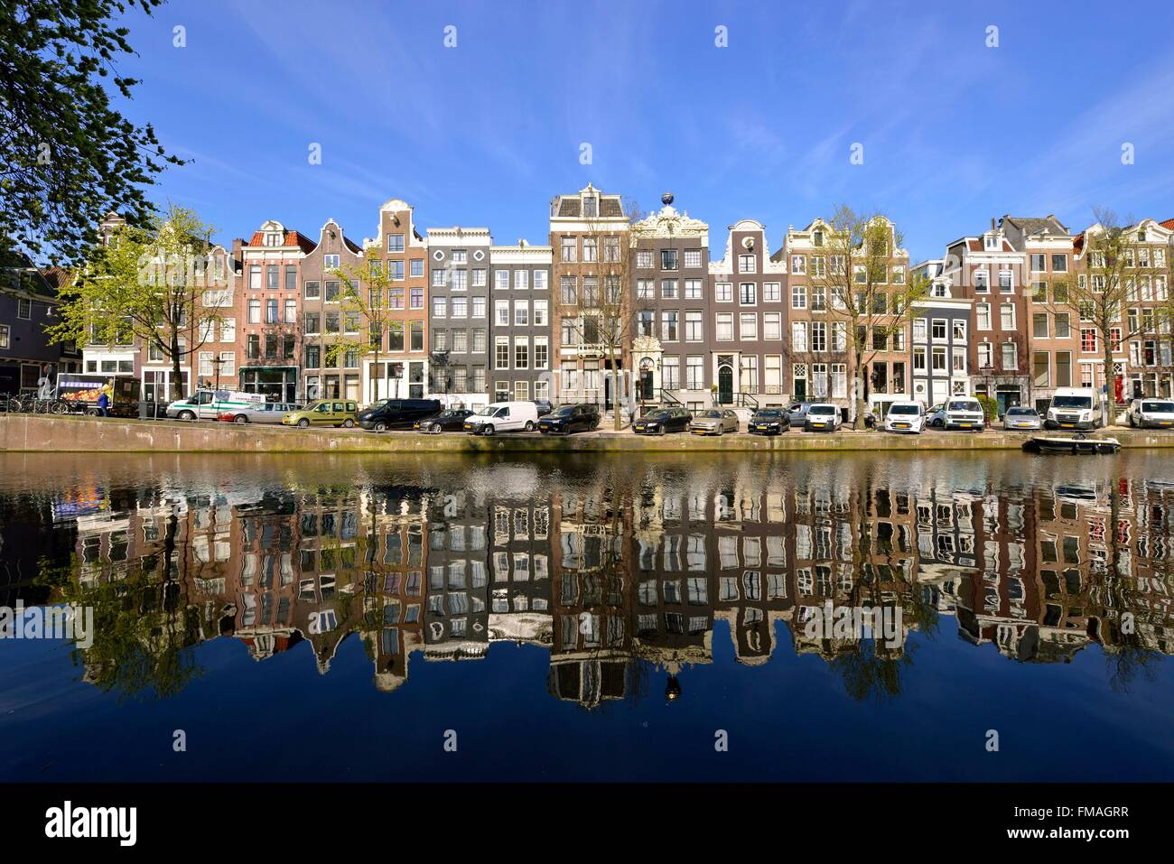 Netherlands, Northen Holland, Amsterdam, 17th century canal ring area, listed as World Heritage by UNESCO, Singel - Stock Image