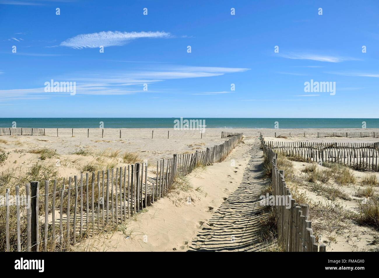 France, Pyrenees Orientales, Canet en Roussillon, the beach - Stock Image