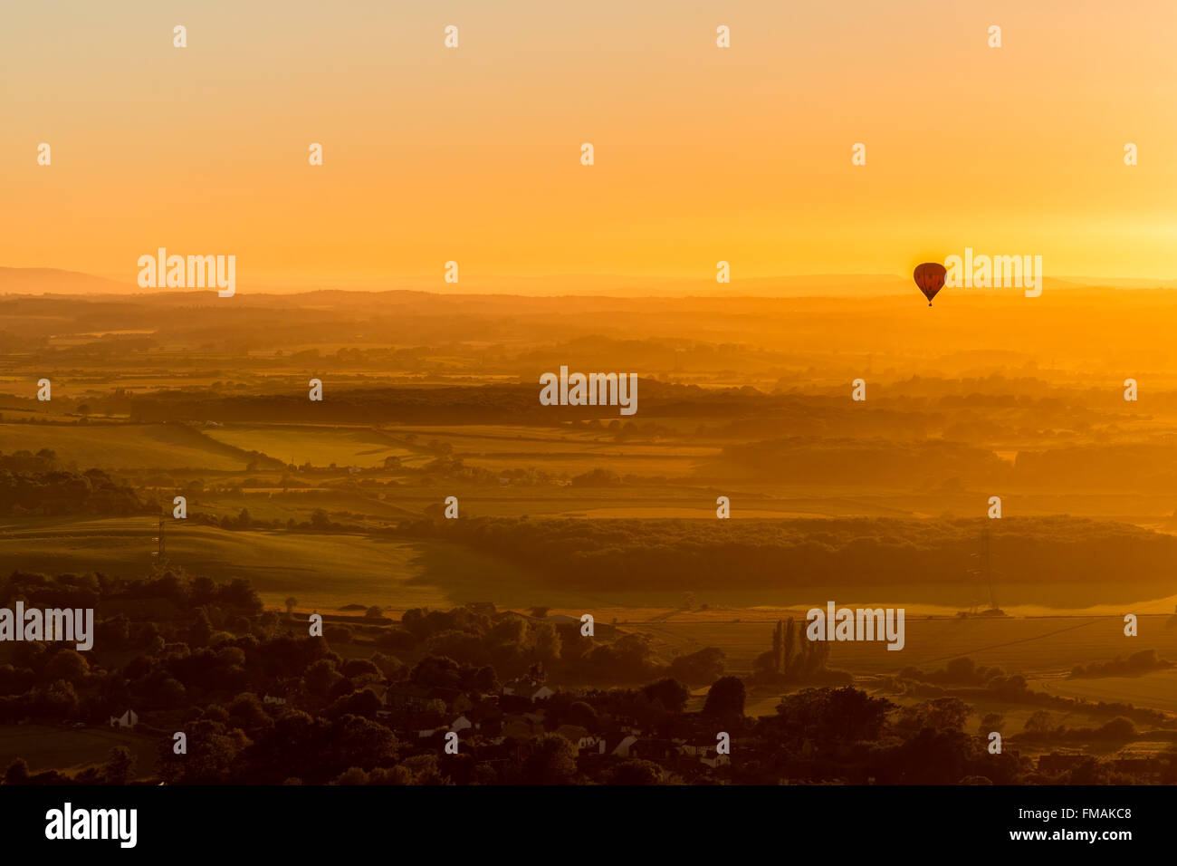 Air Balloon fly over view in Devil Dyke, Sussex - Stock Image