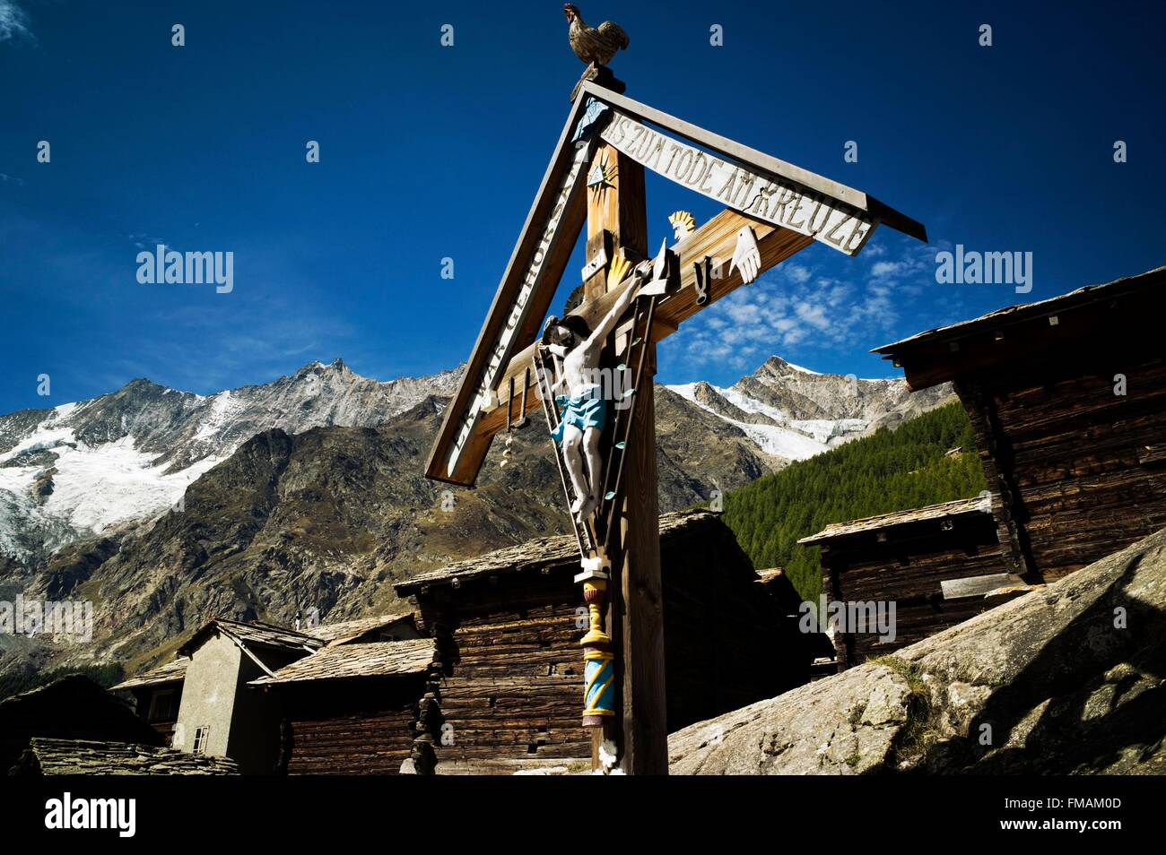 Switzerland, Canton of Valais, Saas Valley, Saas-Fee, 1800 m, Cross of the Passion at the entrance of the village, - Stock Image