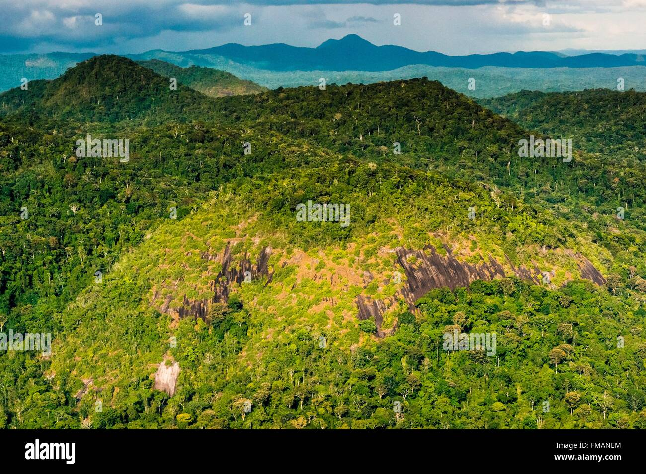 France, Guyana, French Guyana Amazonian Park, heart area, inselberg over Amazon rainforest - Stock Image