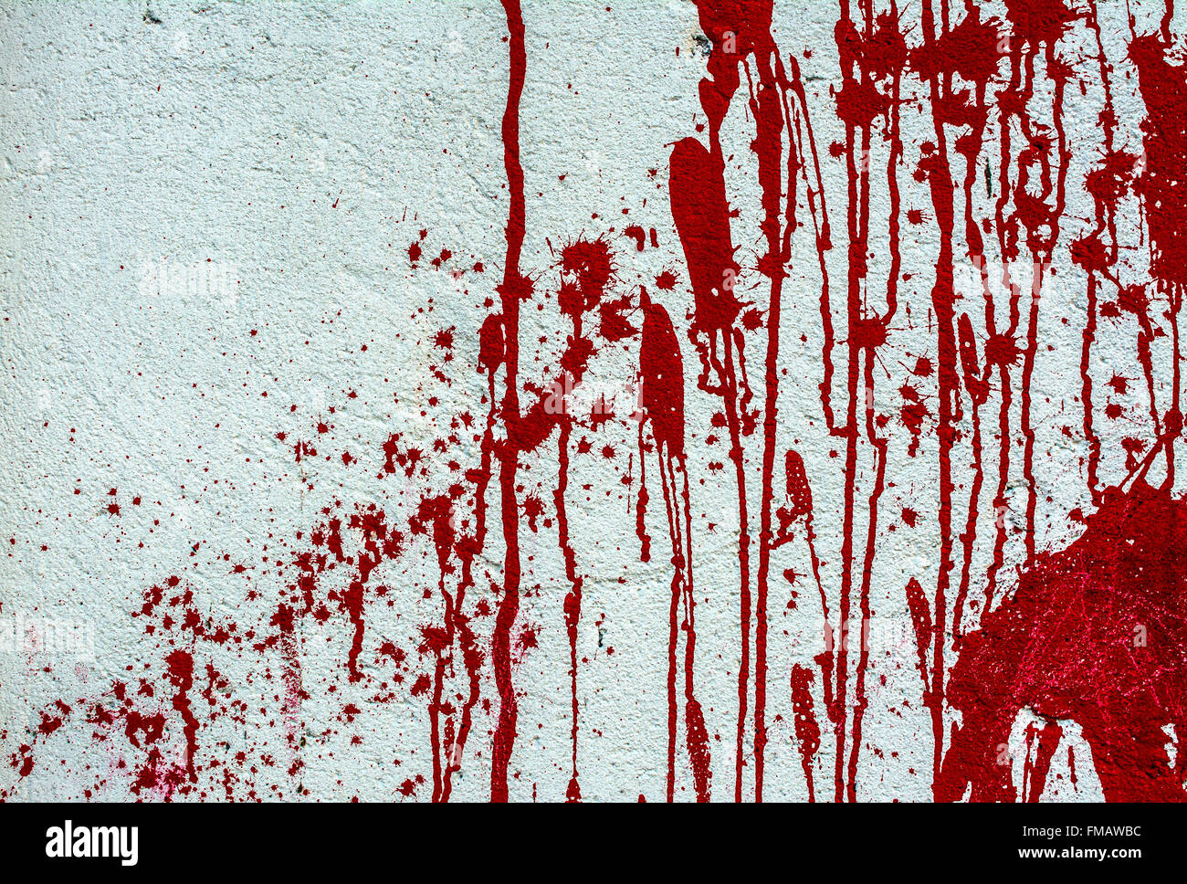 Blood on white wall texture - Stock Image