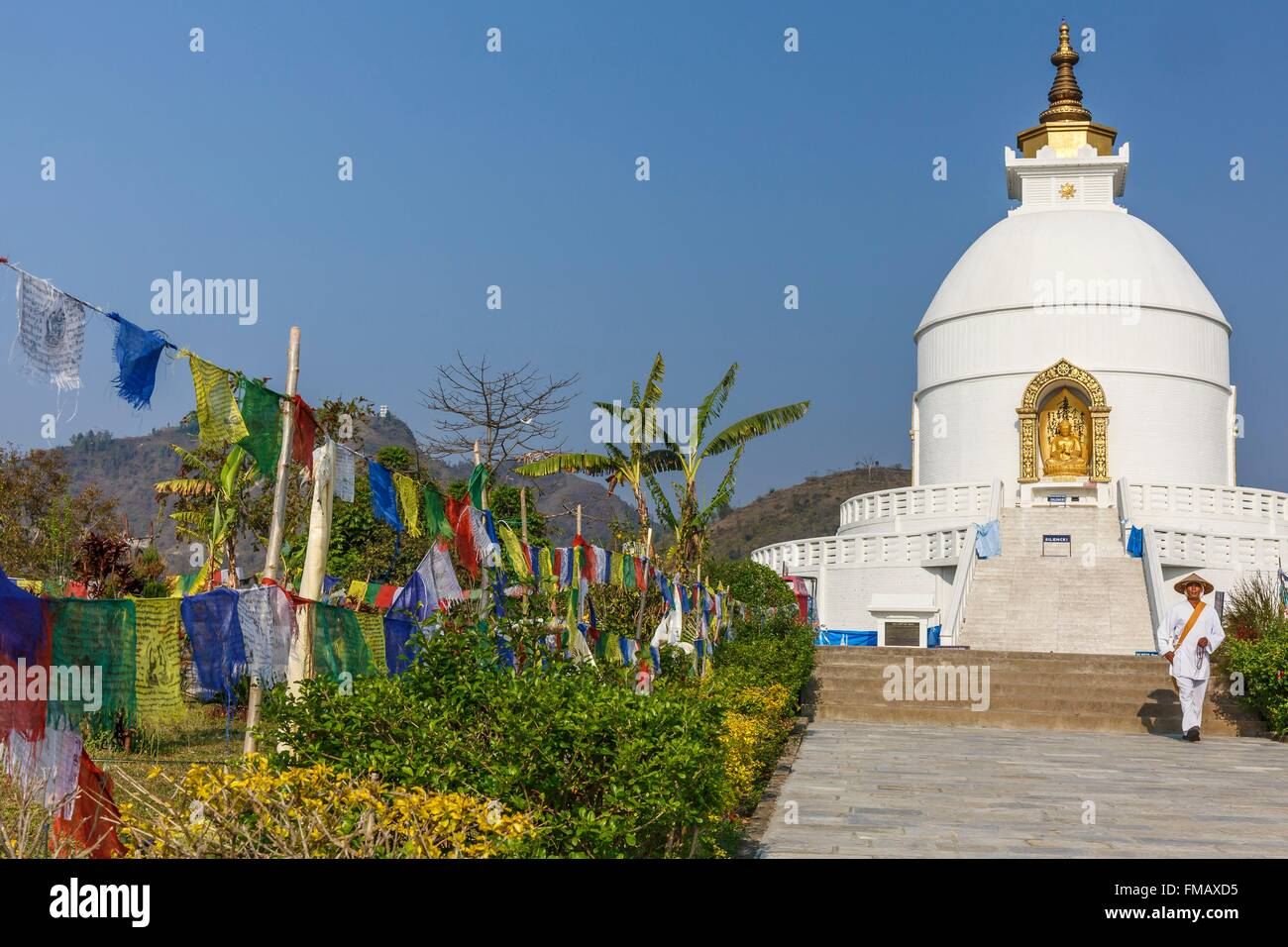 Nepal, Gandaki zone, Pokhara, World Peace stupa - Stock Image