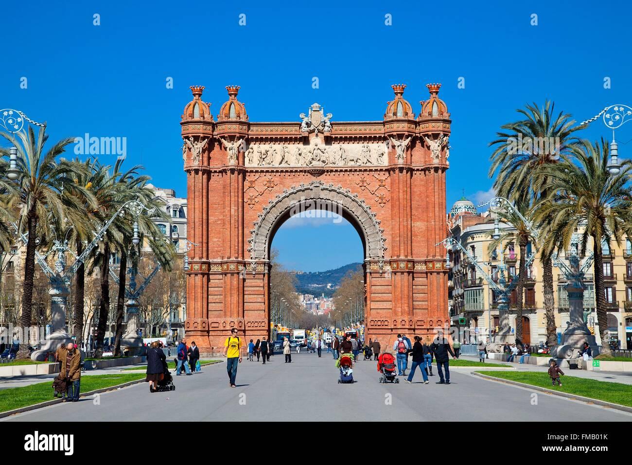 Spain, Catalonia, Barcelona, the Arc de Triomf by the architect Josep Vilaseca i Casanovas as main entrance for - Stock Image