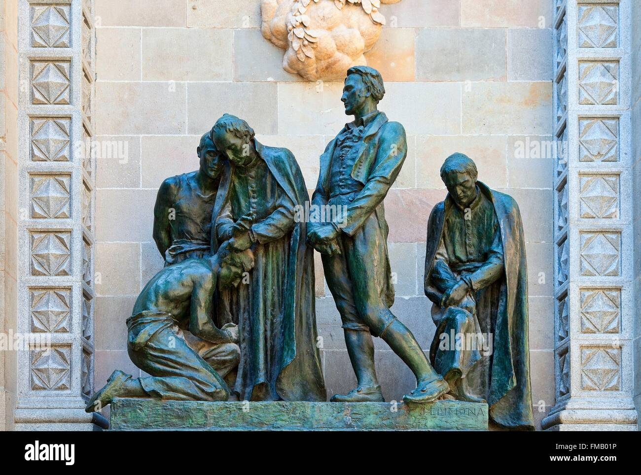 Spain, Catalonia, Barcelona, Sculpture group in the Barri Gotic - Stock Image