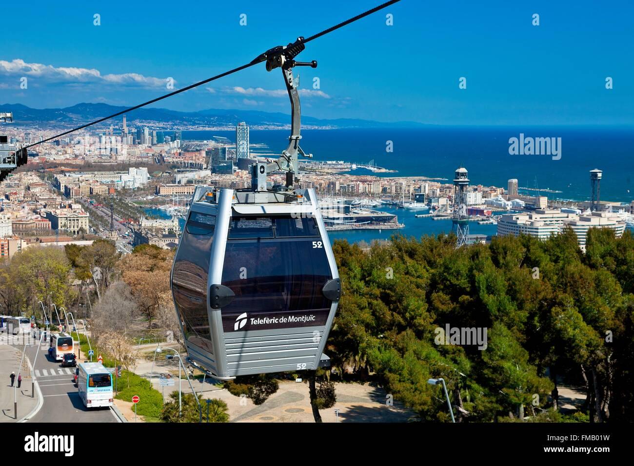 Spain, Catalonia, Barcelona, Montjuic Aerial Tram - Stock Image