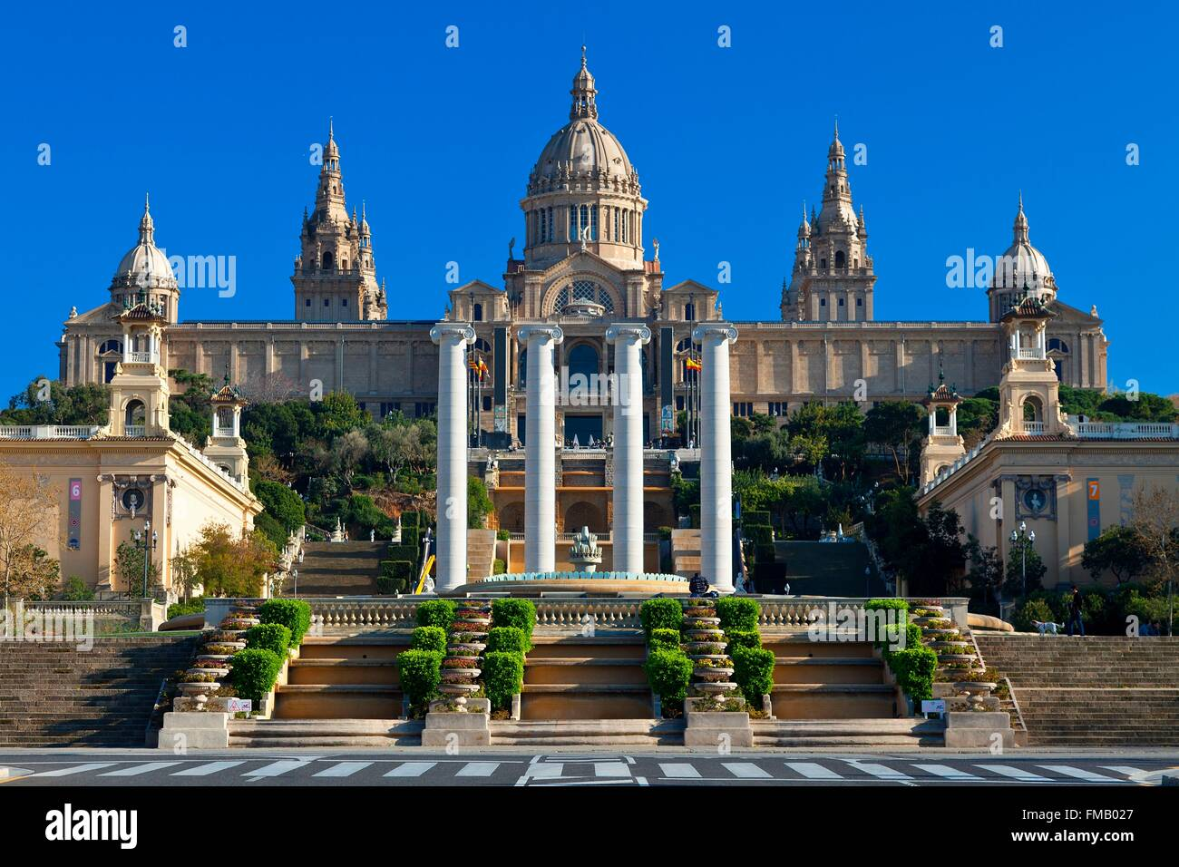 Spain, Catalonia, Barcelona, Montjuic, National Palace (Palau Nacional), Catalonia National Museum of Art (MNAC) - Stock Image