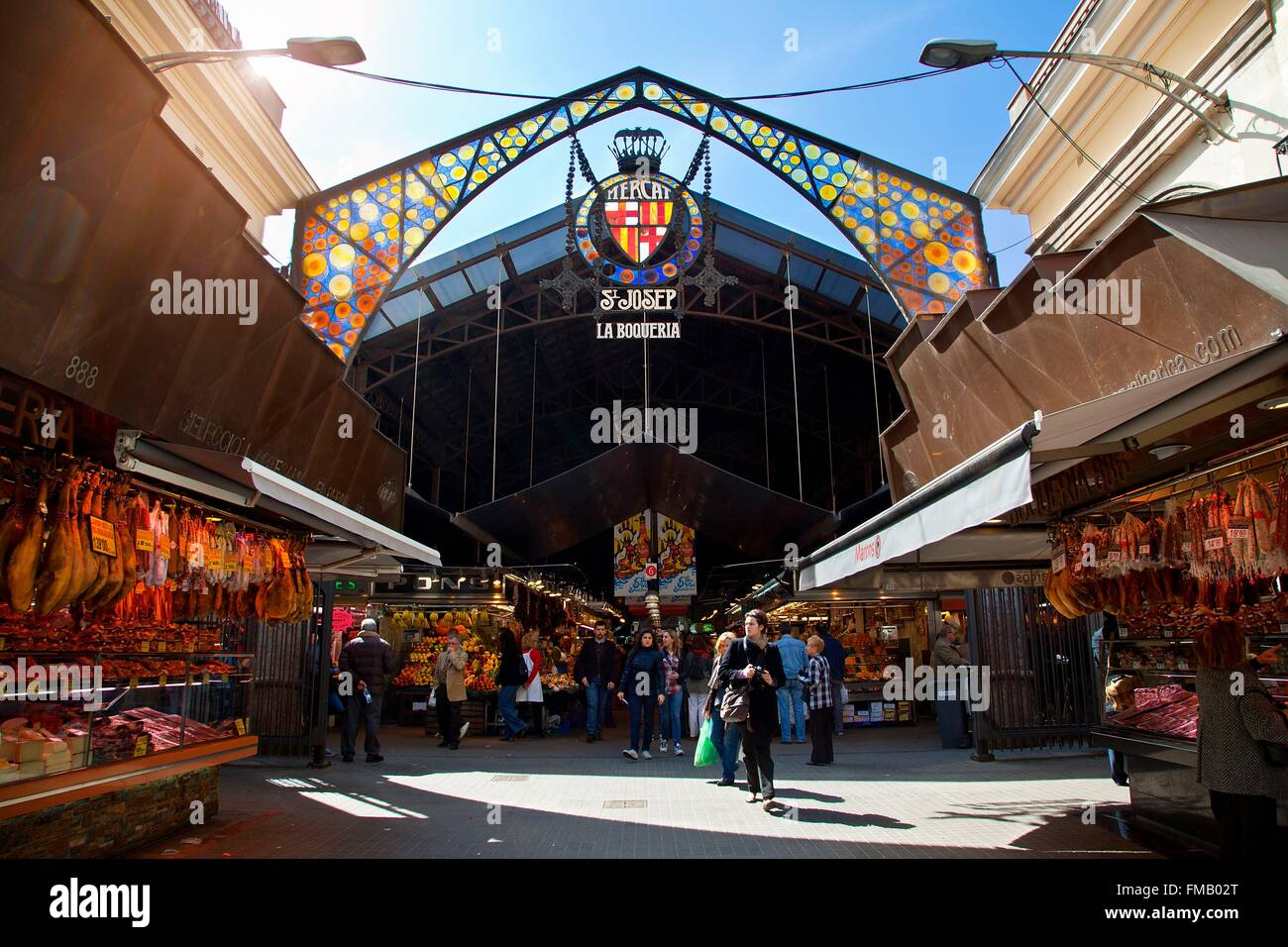 Spain, Catalonia, Barcelona, entrance of Boqueria market - Stock Image