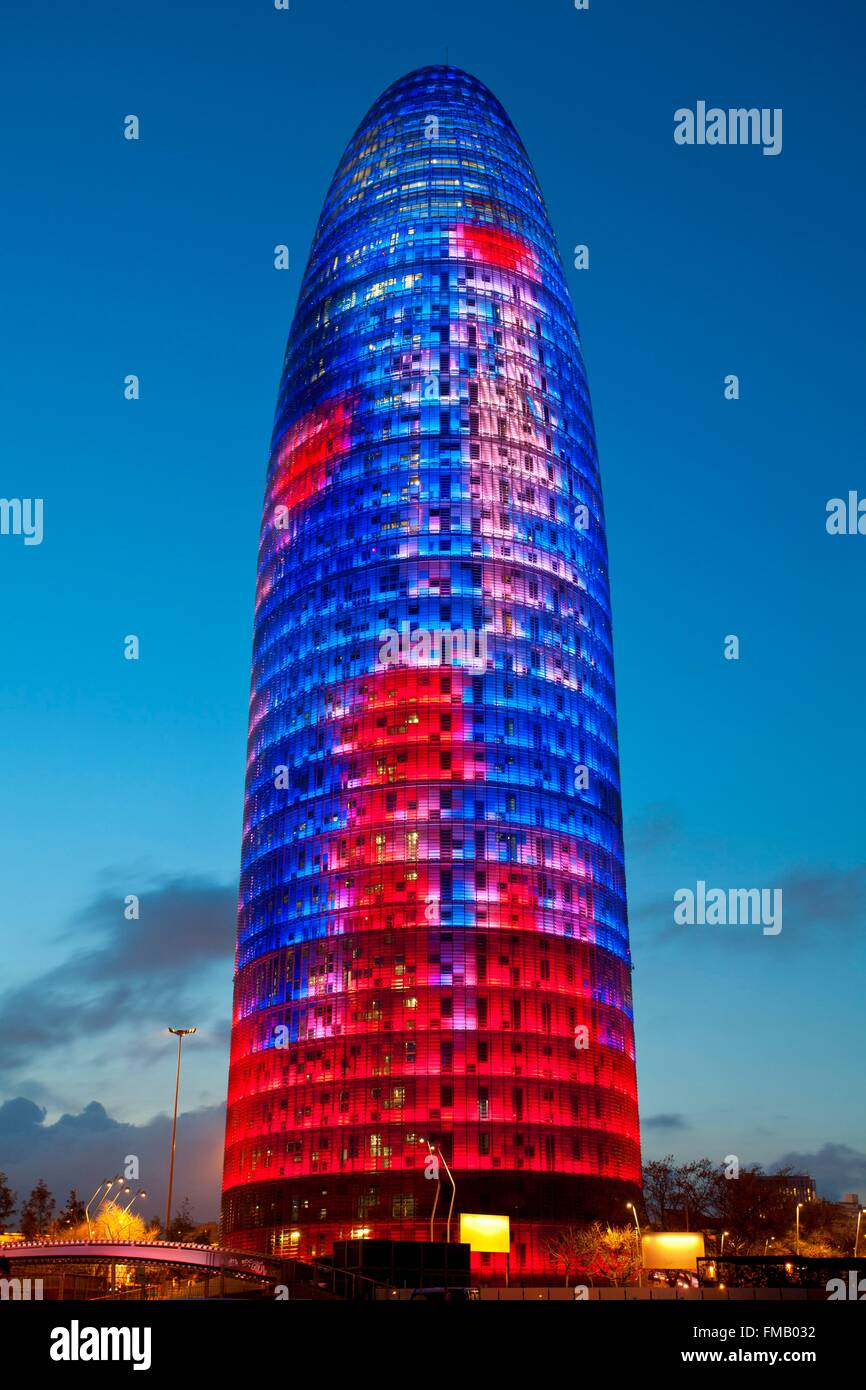 Spain, Catalonia, Barcelona, Torre Agbar (Agbar Tower) - Stock Image