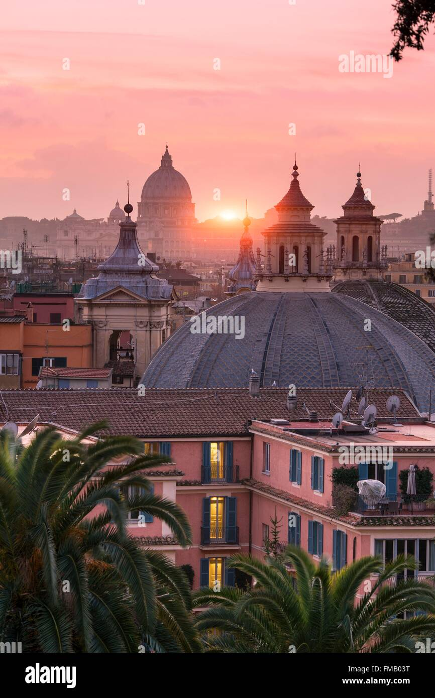 Italy, Lazio, Rome, historical center listed as World Heritage by UNESCO, Piazza del Popolo, Saint Peter's Cupula Stock Photo