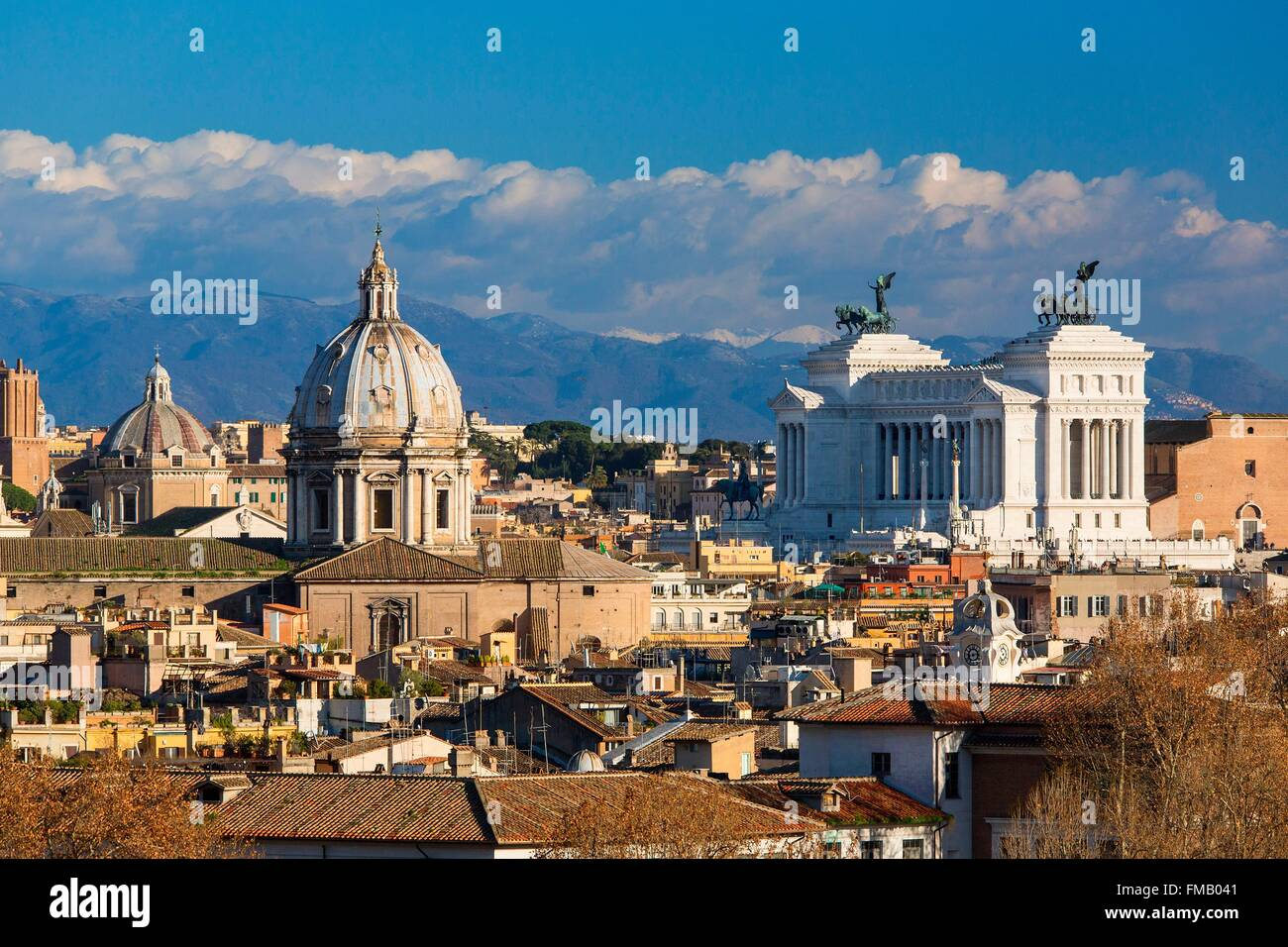 Italy, Lazio, Rome, historical center listed as World Heritage by UNESCO, Gianicolo Hill, Panoramic view of the - Stock Image