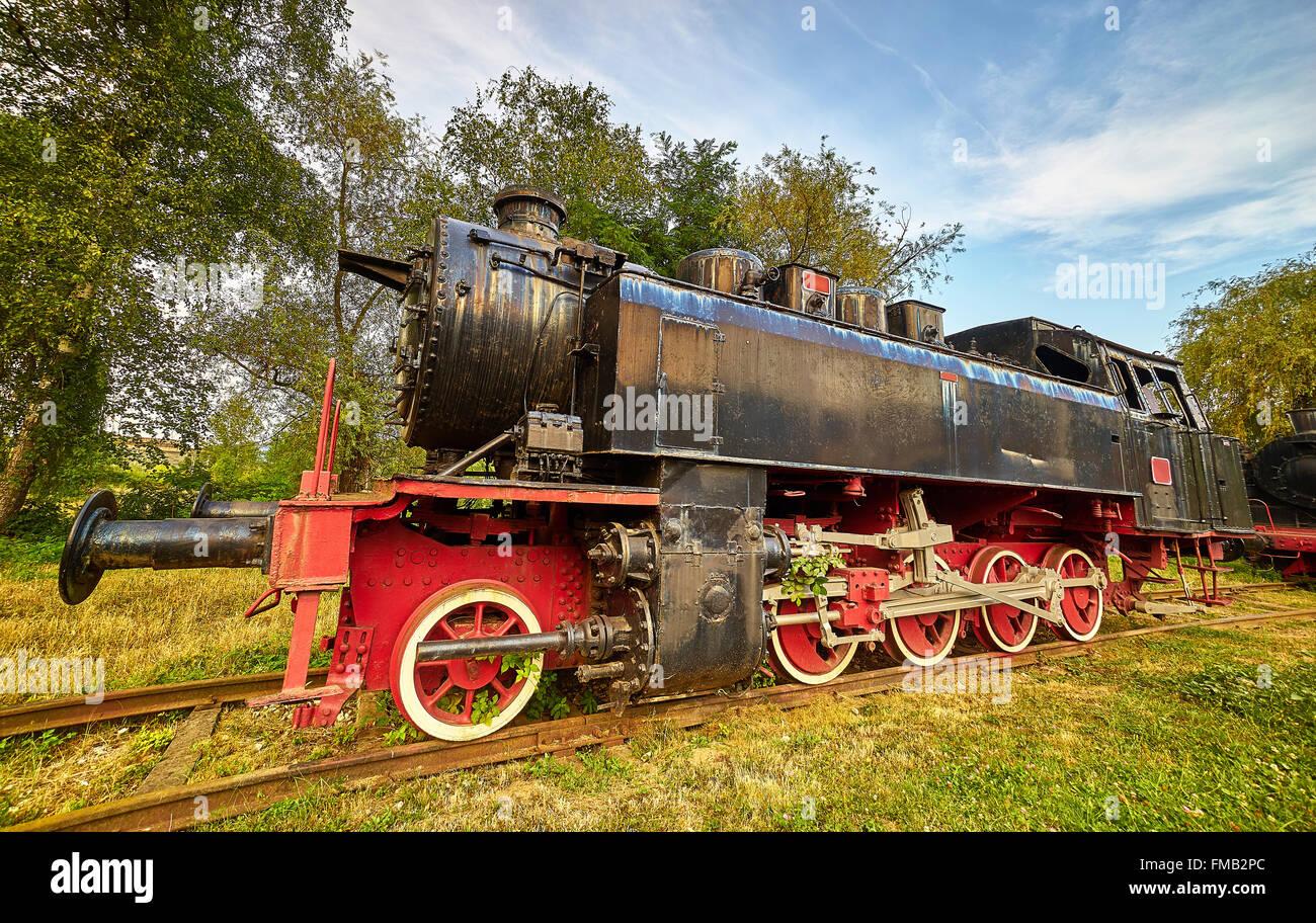 Old Black Red Locomotive in Resita, Romania. - Stock Image