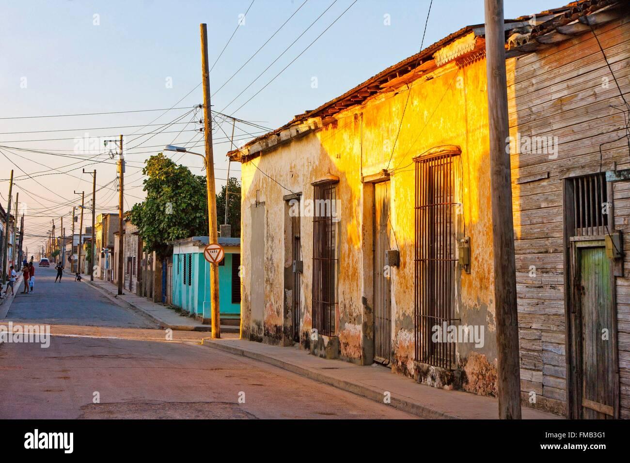 Cuba, Holguin, Gibara, House with ocher walls decrepit Stock Photo