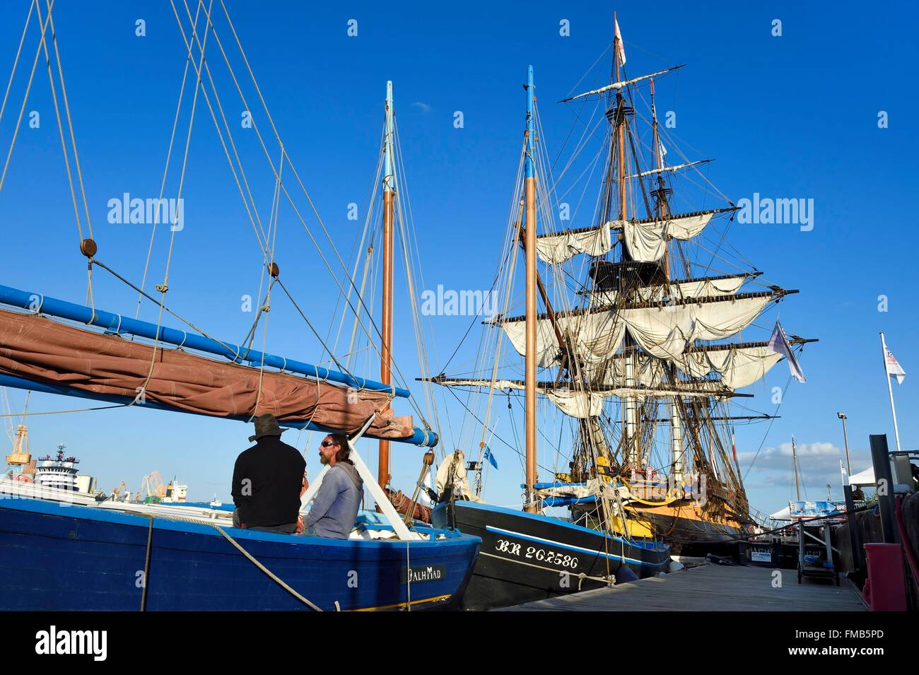 France, Finistere, Brest port, L'Hermione frigate, replica of the three masts which brought the marquis de Lafayette - Stock Image