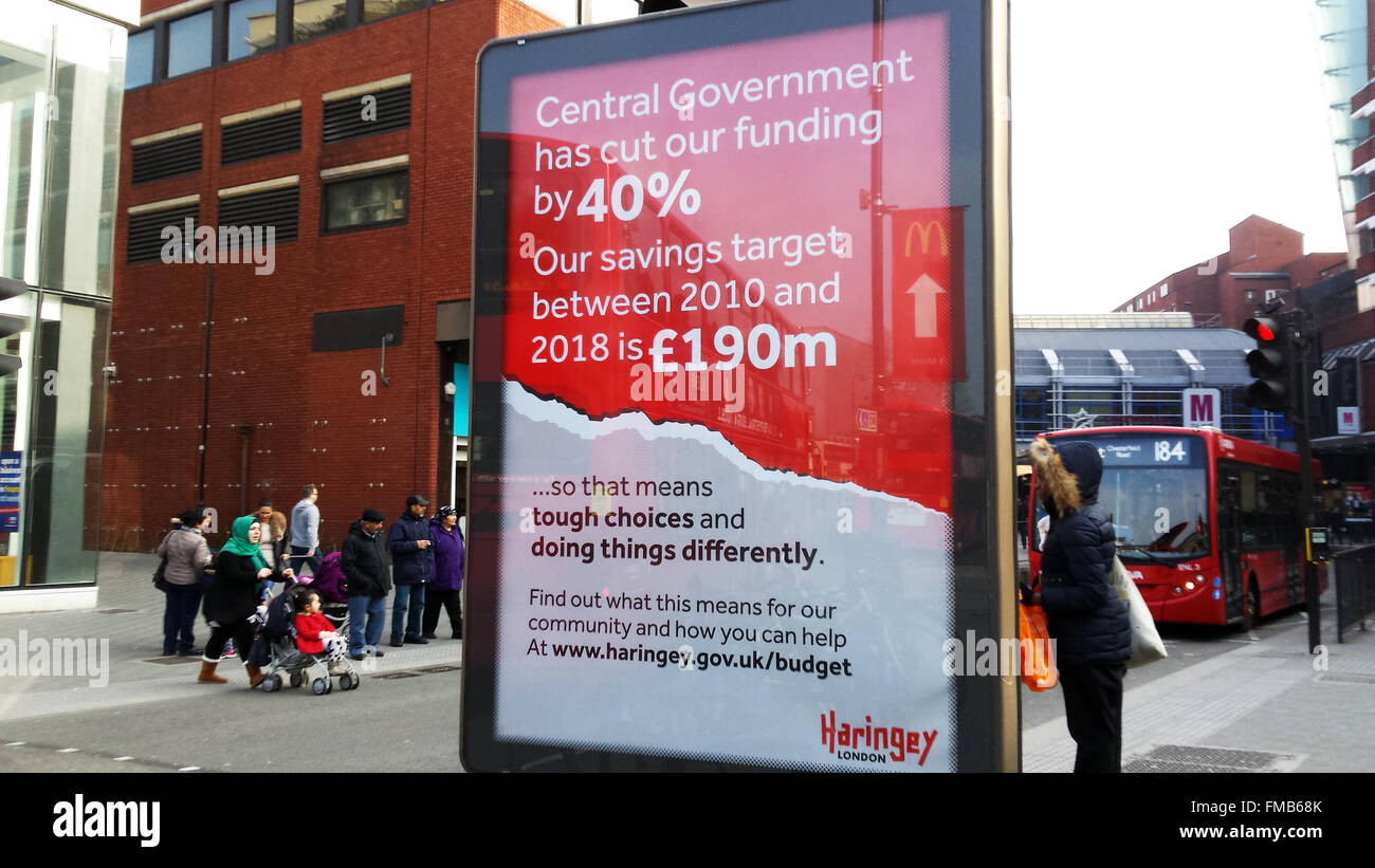 Wood Green, Haringey, London, UK. 11th March 2016. Signs in Wood Green advertising about Haringey's budget up to Stock Photo