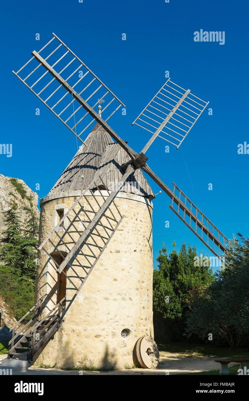 France, Drome, Pierrelatte, Wind Mill built around 1839 - Stock Image