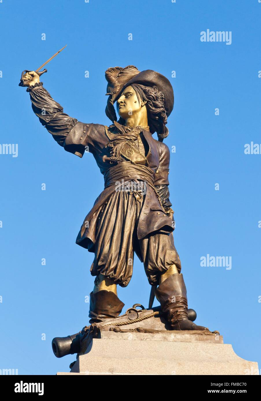 France, Nord, Dunkirk, statue of Jean Bart on Place Jean Bart, the famous French corsair born in Dunkirk - Stock Image