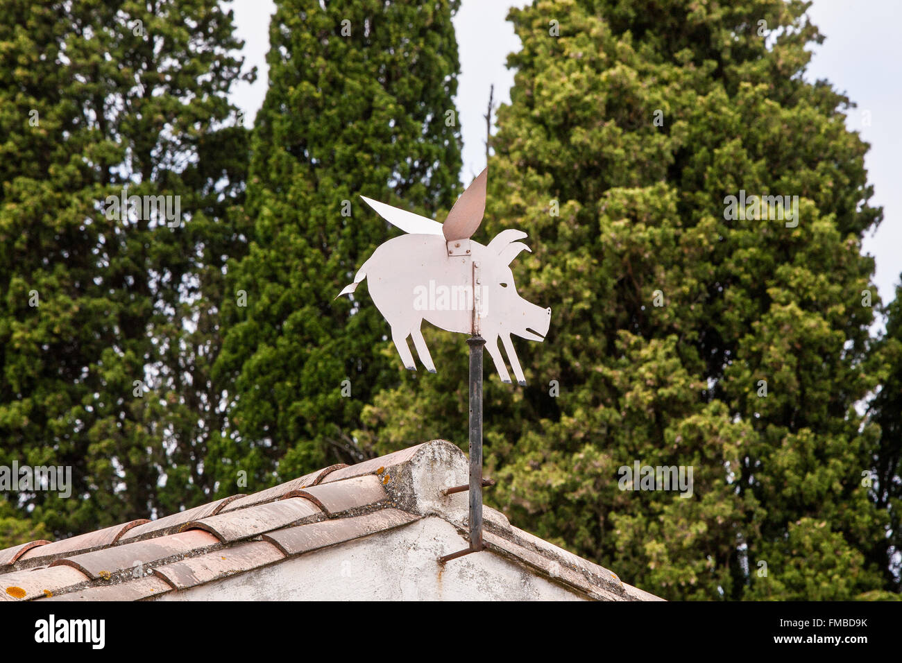 Flying pig wind weather vane at artists run Aiguille lock, Canal Du Midi,cycling,cruise,boats,Aude,Carcassonne,South,France. - Stock Image