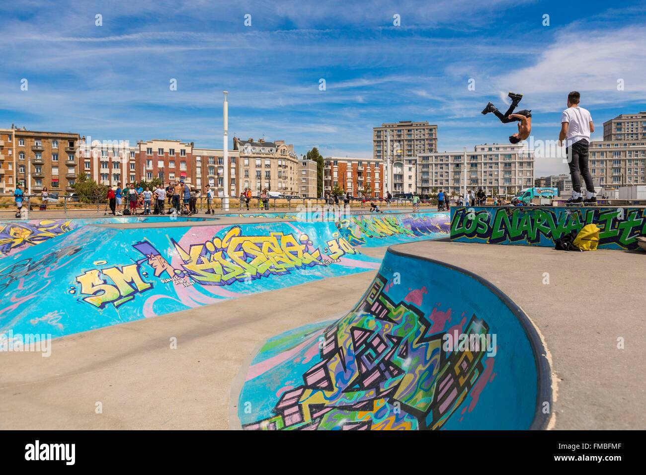 France, Seine Maritime, Le Havre, the skate park - Stock Image